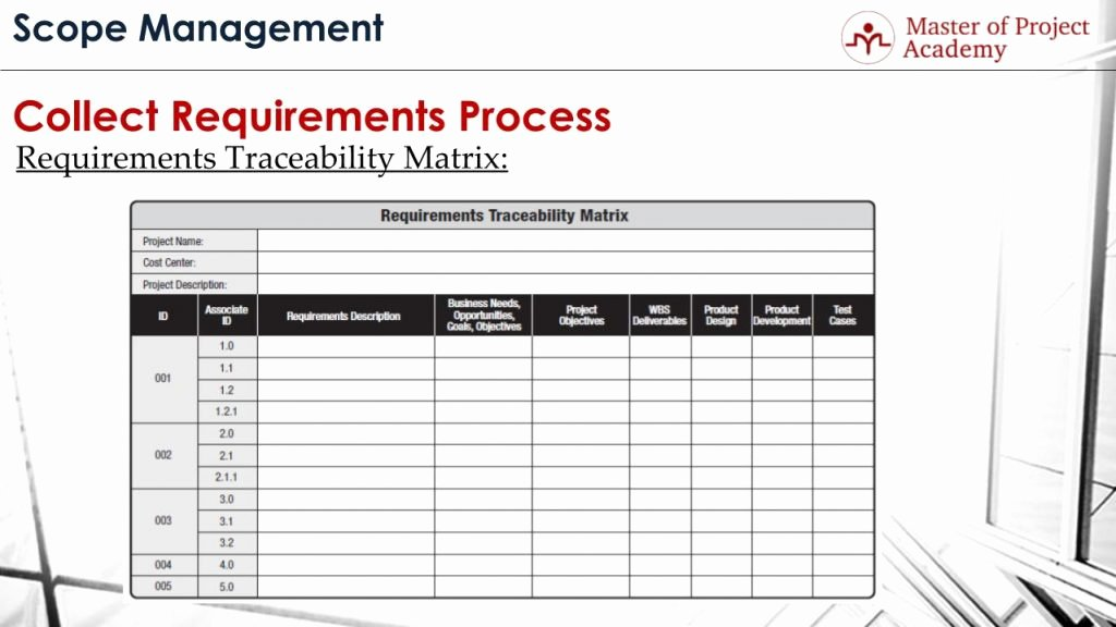 Project Requirements Document Example Luxury Requirements Traceability Matrix Track & Control Requirements