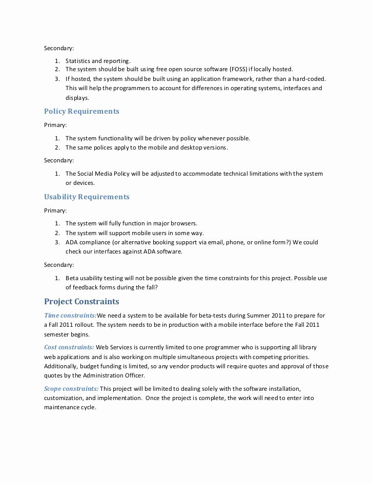 Project Requirements Document Example New Sample Project Requirements Document – Library Blog