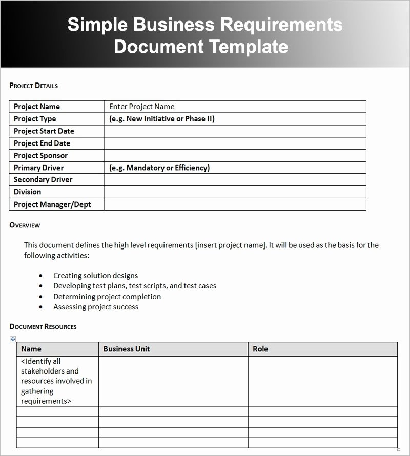 Project Requirements Document Example Unique 12 Business Requirements Document Examples Pdf