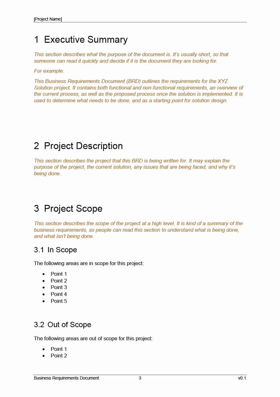 Project Requirements Document Example Unique 40 Simple Business Requirements Document Templates