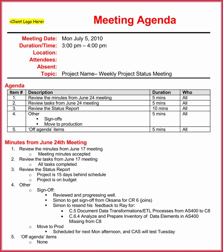 Project Status Meeting Agenda New Weekly Meeting Agenda Template 9 Samples formats In