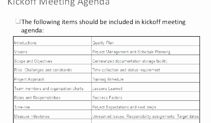 Project Status Meeting Agenda Unique Status Meeting Agenda Template