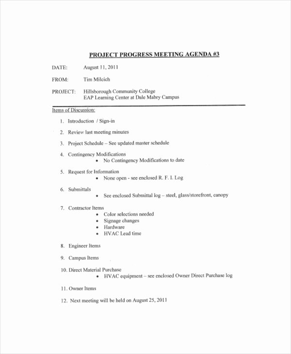 Project Status Meeting Template Fresh 10 Project Meeting Agenda Template Free Download