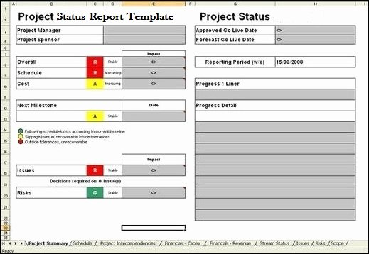 Project Status Report Template Excel Fresh Project Report Template