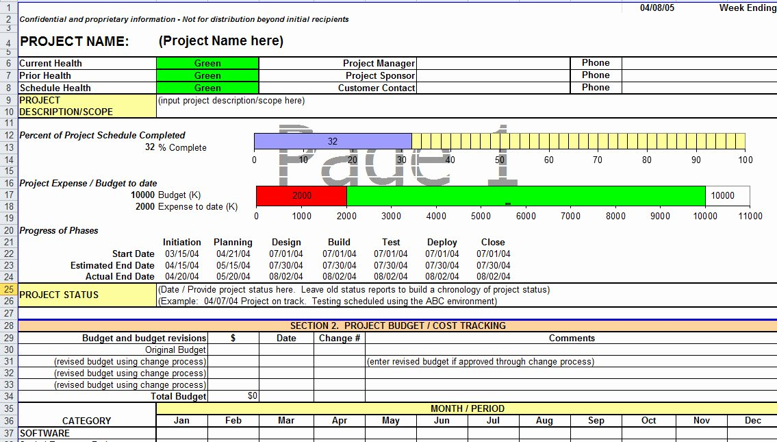 Project Status Report Template Excel Unique Project Status Report Template In Excel