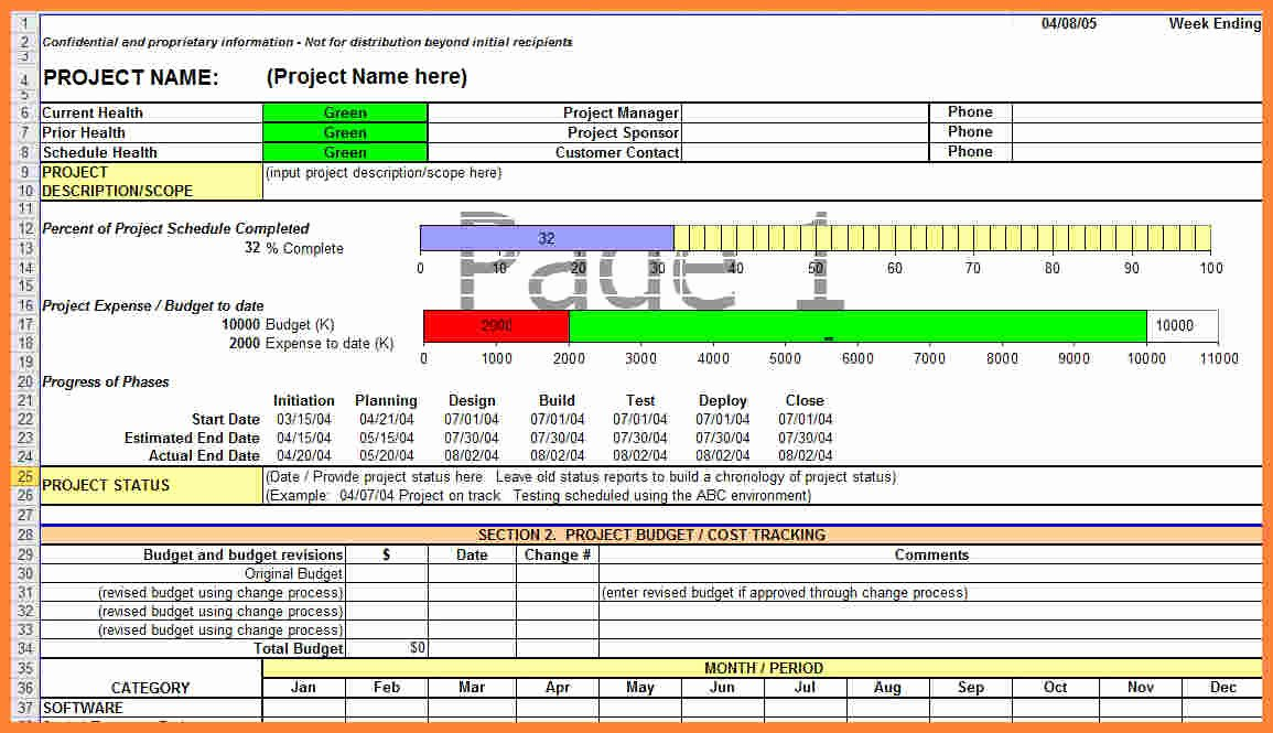 Project Status Template Excel Unique 28 Construction Project Status Report Template