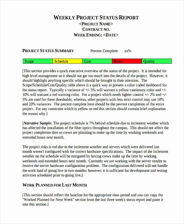 Project Status Update Email Sample Fresh 30 Project Report Examples & Samples Pdf Word Apple