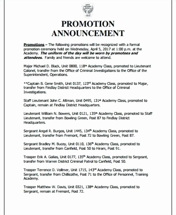 Promotion Announcement Examples Beautiful Employee Promotion Announcement Samples Pics – Salary