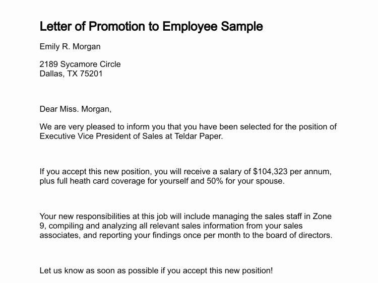 Promotion Announcement Examples Elegant 12 Promotion Re Mendation Letter Examples Pdf