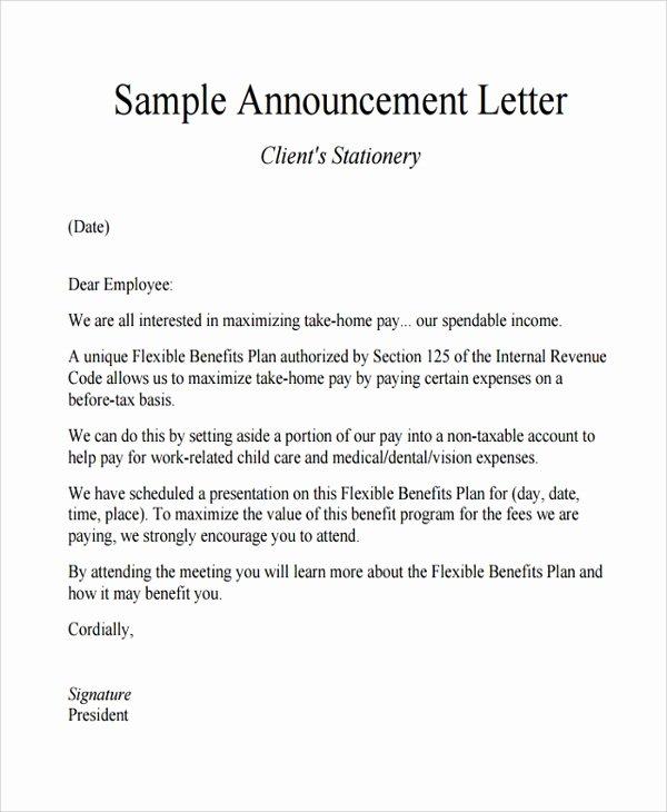 Promotion Announcement Examples Elegant Sample Announcement Letter Template 11 Free Documents
