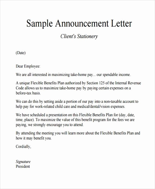 Promotion Announcement Letter Inspirational Sample Announcement Letter Template 11 Free Documents