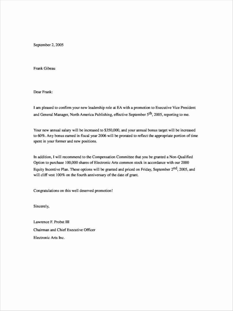 Promotion Announcement Letters Beautiful 30 Promotion Letters Free Word Pdf Excel format