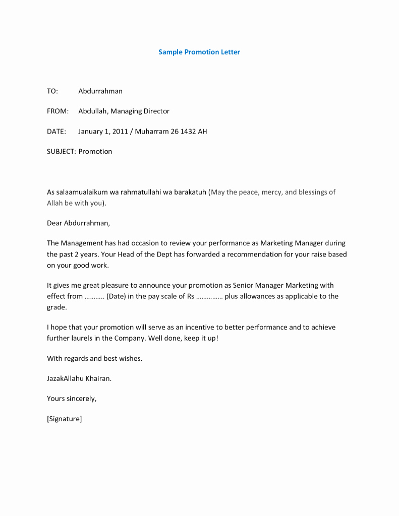 Promotion Announcement Letters New 12 Promotion Re Mendation Letter Examples Pdf