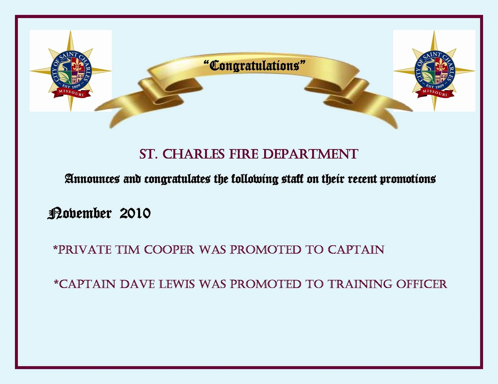 Promotion Announcement Letters New St Charles Fire Department Promotion Announcement