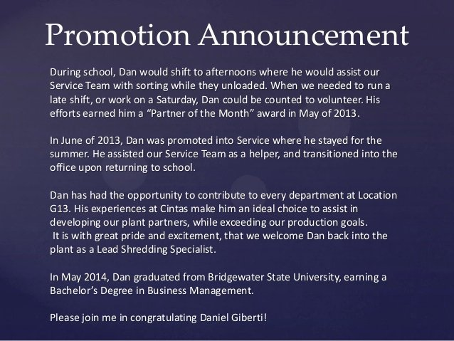 Promotion Announcement Samples Awesome Promotion Announcement Giberti Pdf