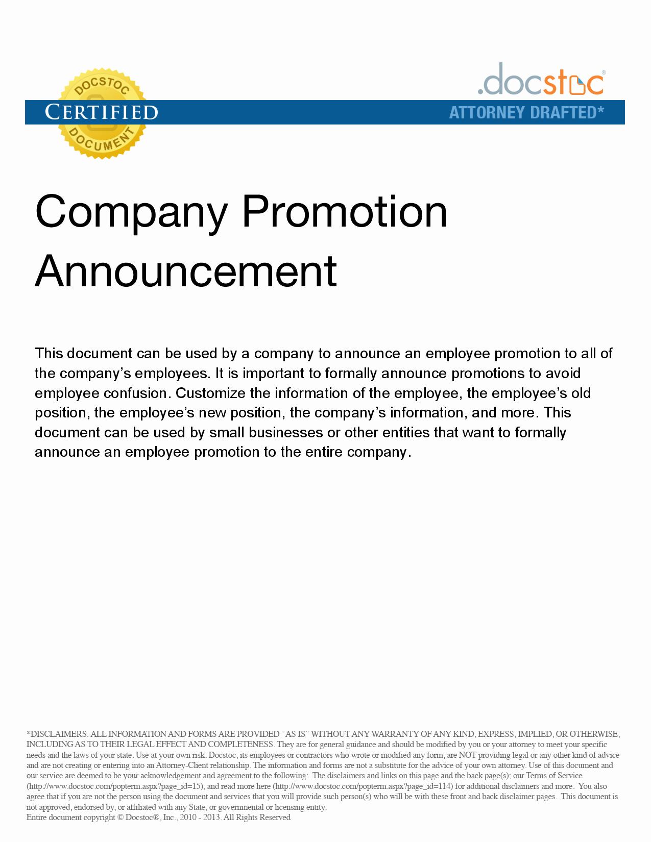 Promotion Announcement Template Elegant Best S Of Job Promotion Announcement Examples