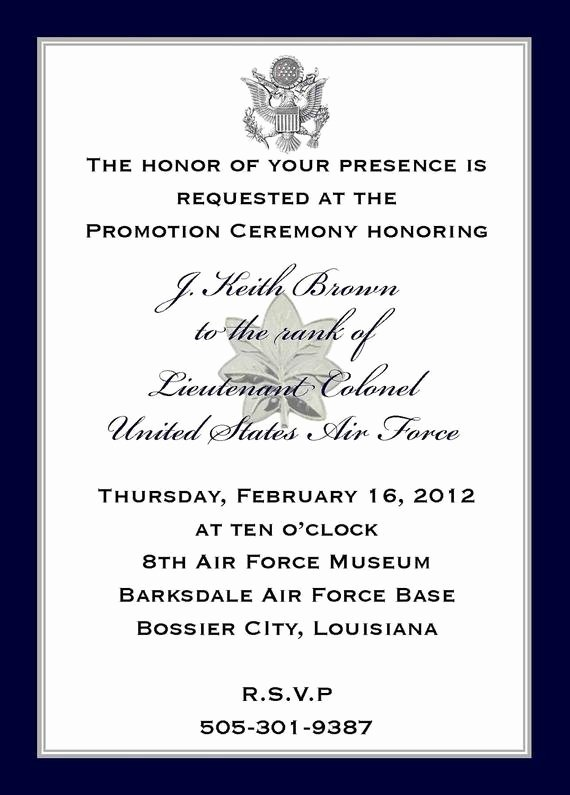 Promotion Announcement Templates Elegant Custom Listing J K Brown Military Promotion Invitations and