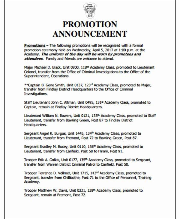 Promotion Announcement Templates Inspirational 2 Promotion Announcement Templates Pdf