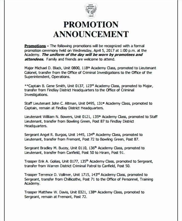 Promotion Announcement Templates Luxury Employee Promotion Announcement Samples Pics – 5 Employee