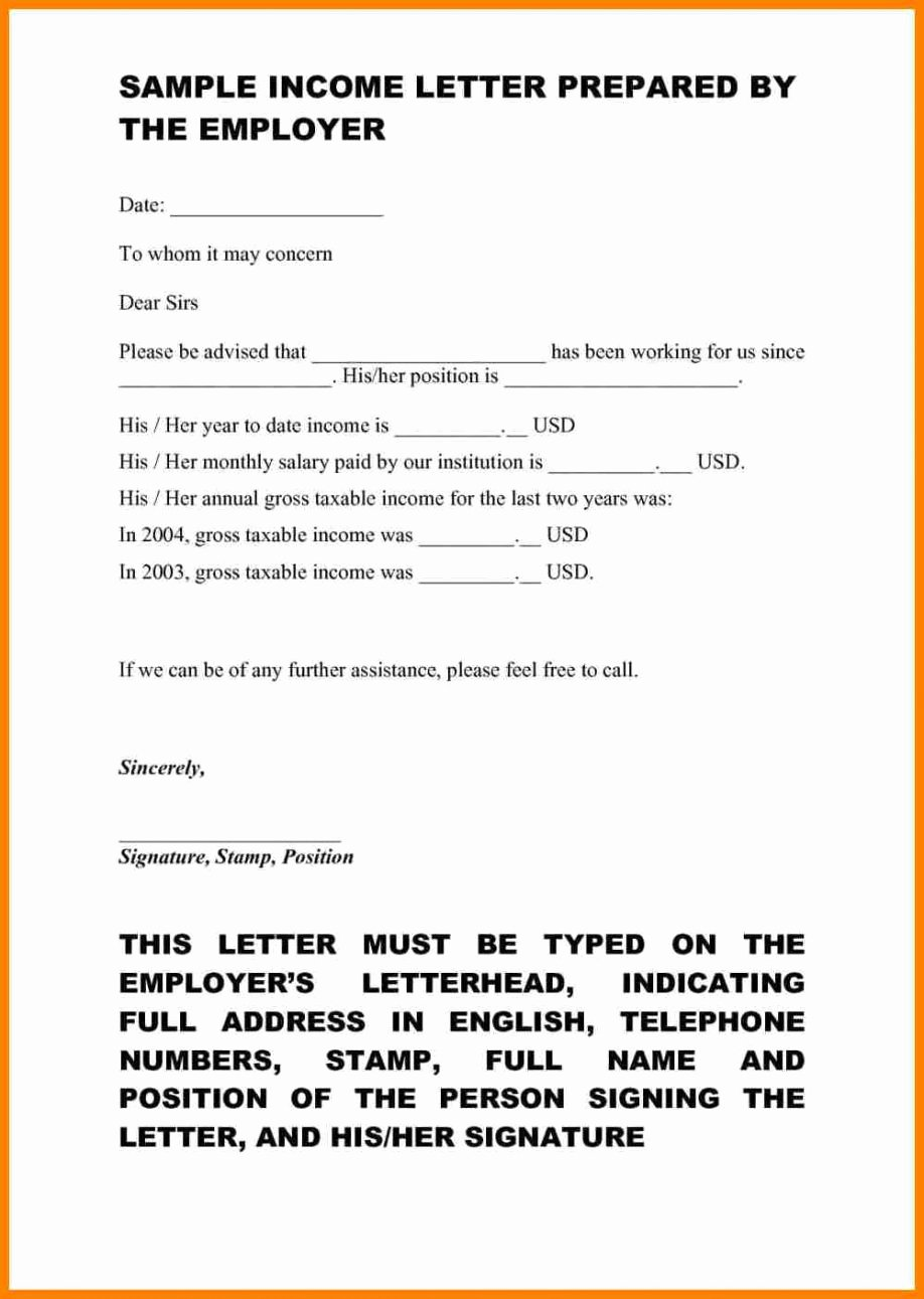 Proof No Income Letter Sample New Proof In E Self Employed Letter Examples