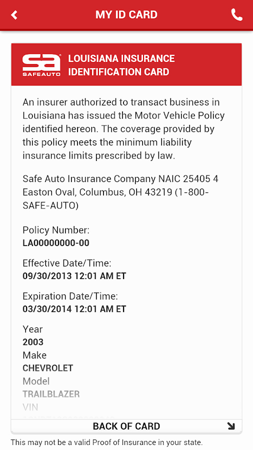 Proof Of Auto Insurance Template Free Inspirational Safeauto android Apps On Google Play