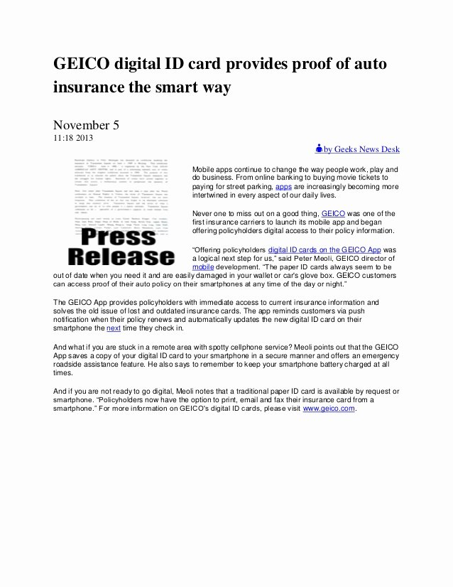 Proof Of Car Insurance Template Inspirational Geico Digital Id Card Provides Proof Of Auto Insurance the