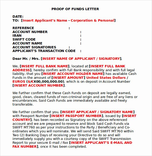 Proof Of Funds Letter Awesome Sample Proof Of Funds Letter 7 Download Free Documents