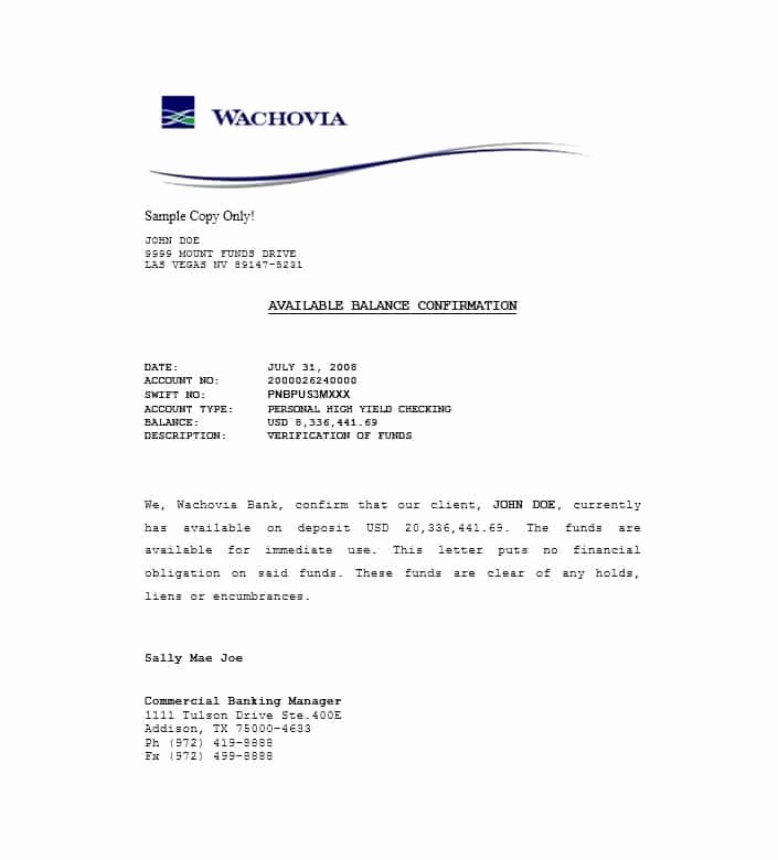 Proof Of Funds Letter Elegant 25 Best Proof Of Funds Letter Templates Template Lab