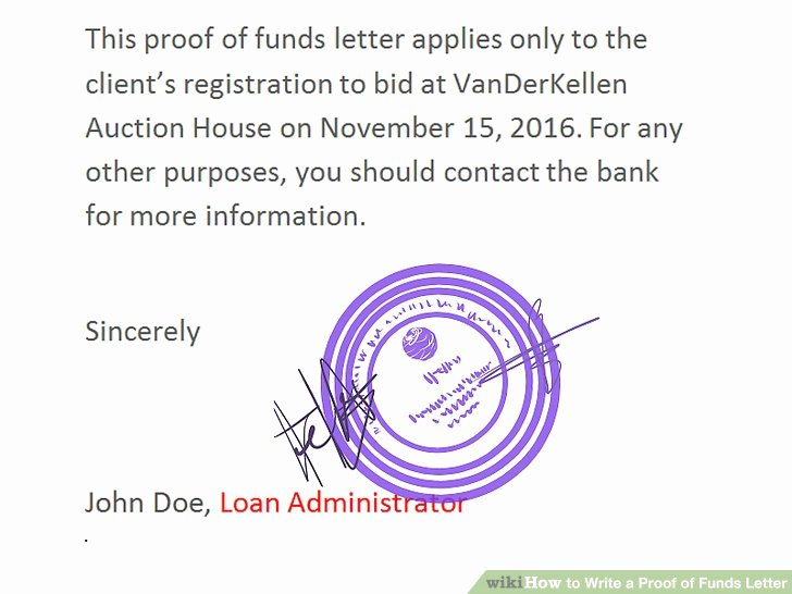Proof Of Funds Letter Elegant How to Write A Proof Of Funds Letter 11 Steps with
