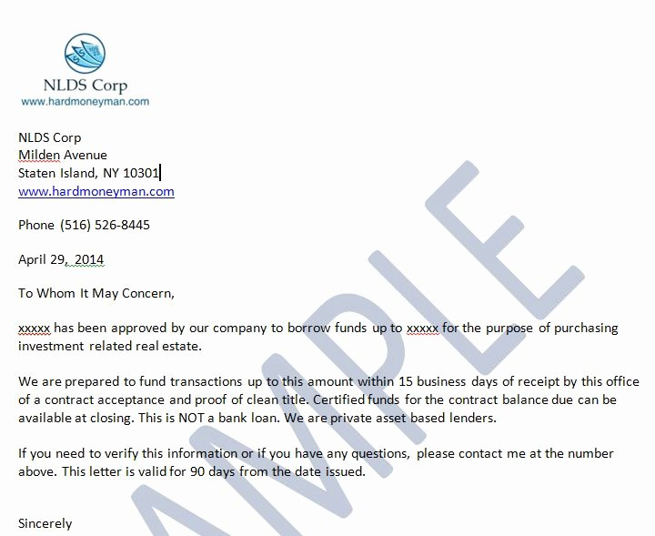 Proof Of Funds Letter Fresh Sample the wholesaling Titan