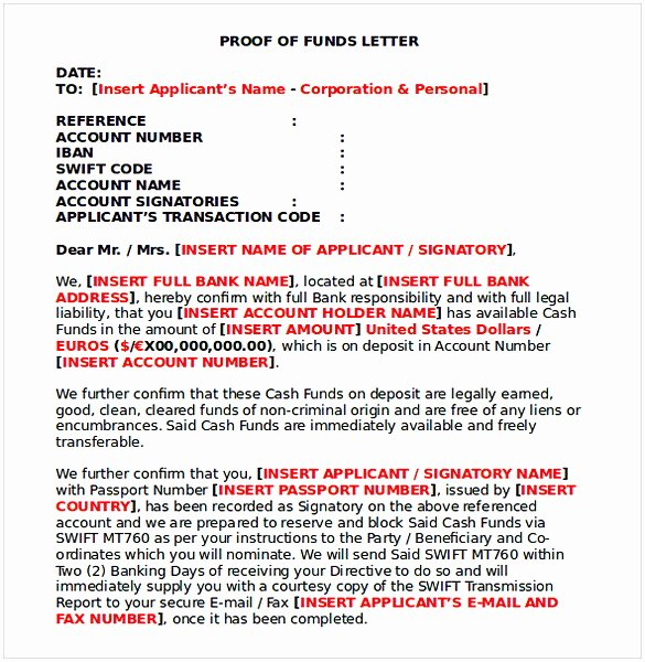 Proof Of Funds Letter Template Awesome Proof Of Funds Letter Sample
