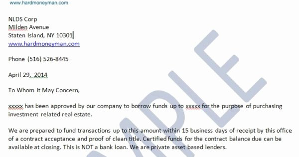 Proof Of Funds Letter Template Inspirational Proof Of Funds Letter – Nationwide Hard Money Lenders for