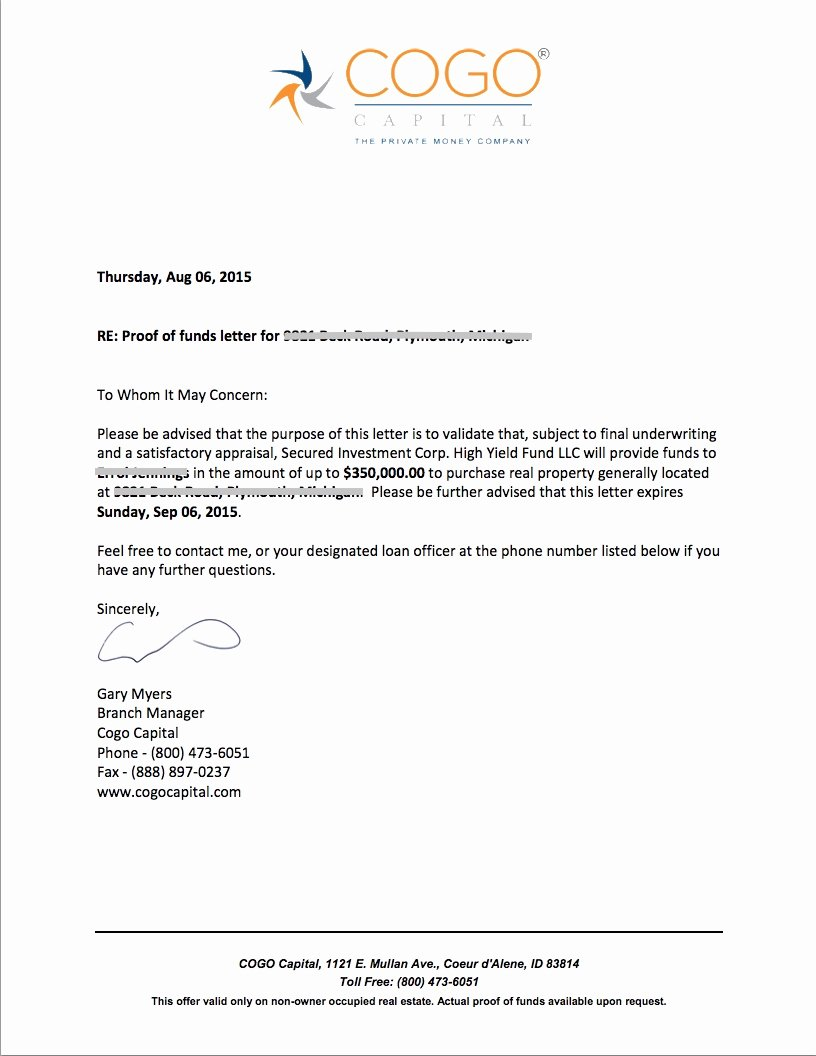 Proof Of Funds Letter Template Lovely Proof Funds Letter