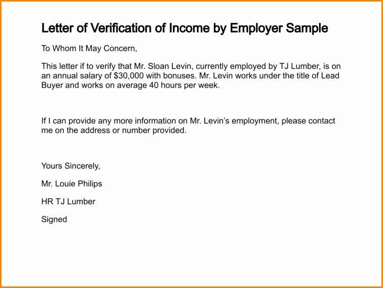 Proof Of No Income Letter Sample Beautiful 5 Sample Salary Letter From Employer