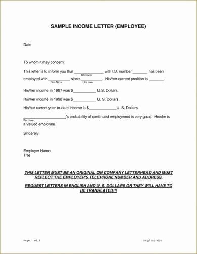 Proof Of No Income Letter Sample Fresh 9 In E Verification Letter Examples In Pdf