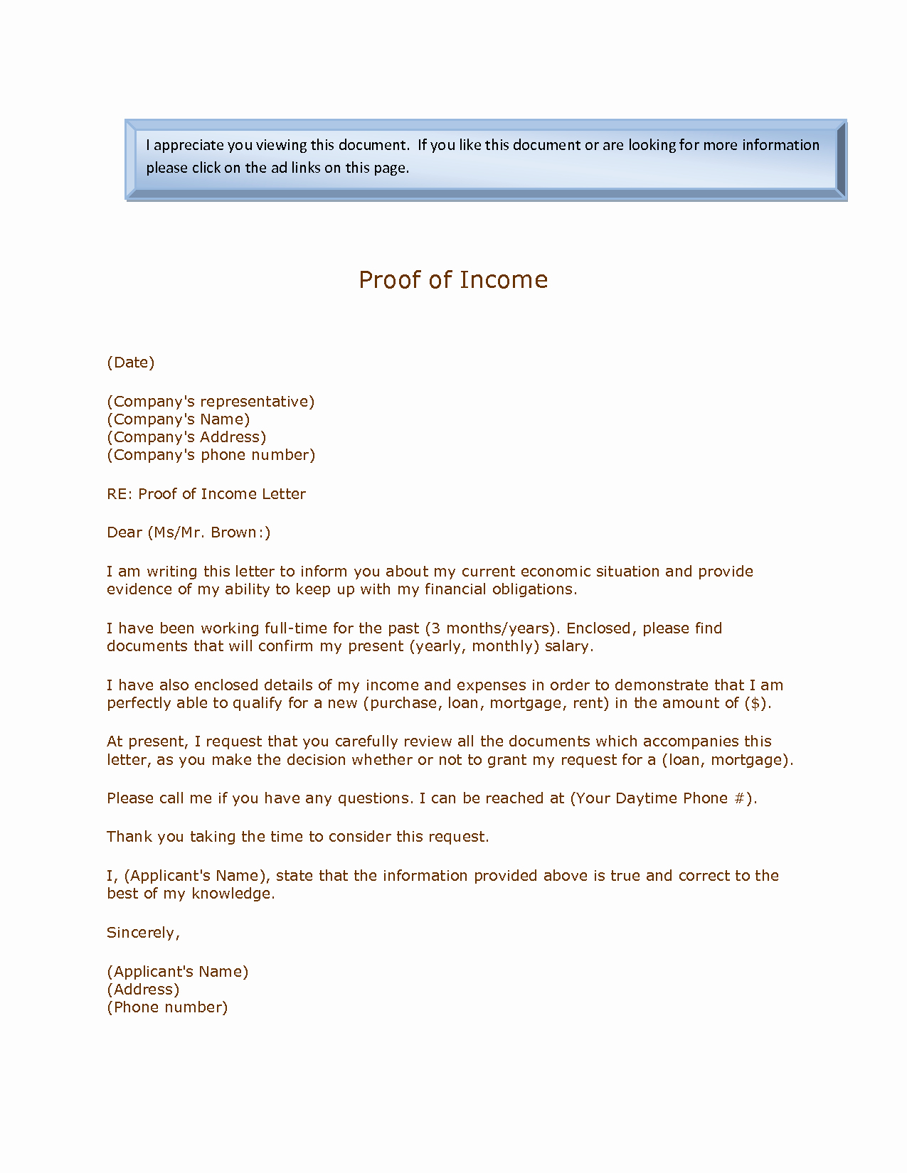 Proof Of No Income Letter Sample Fresh Best S Of Printable Proof In E Letter Free