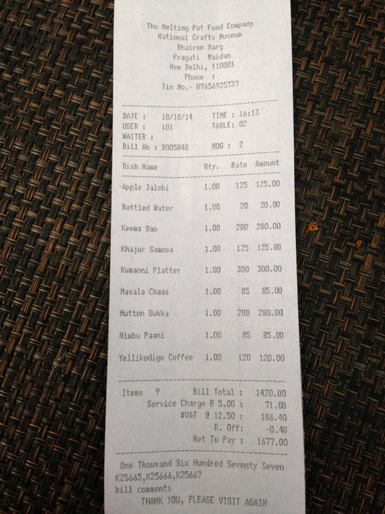 Proof Of Receipt Luxury Cafe Lota National Crafts Museum Bhairon Marg Pragati