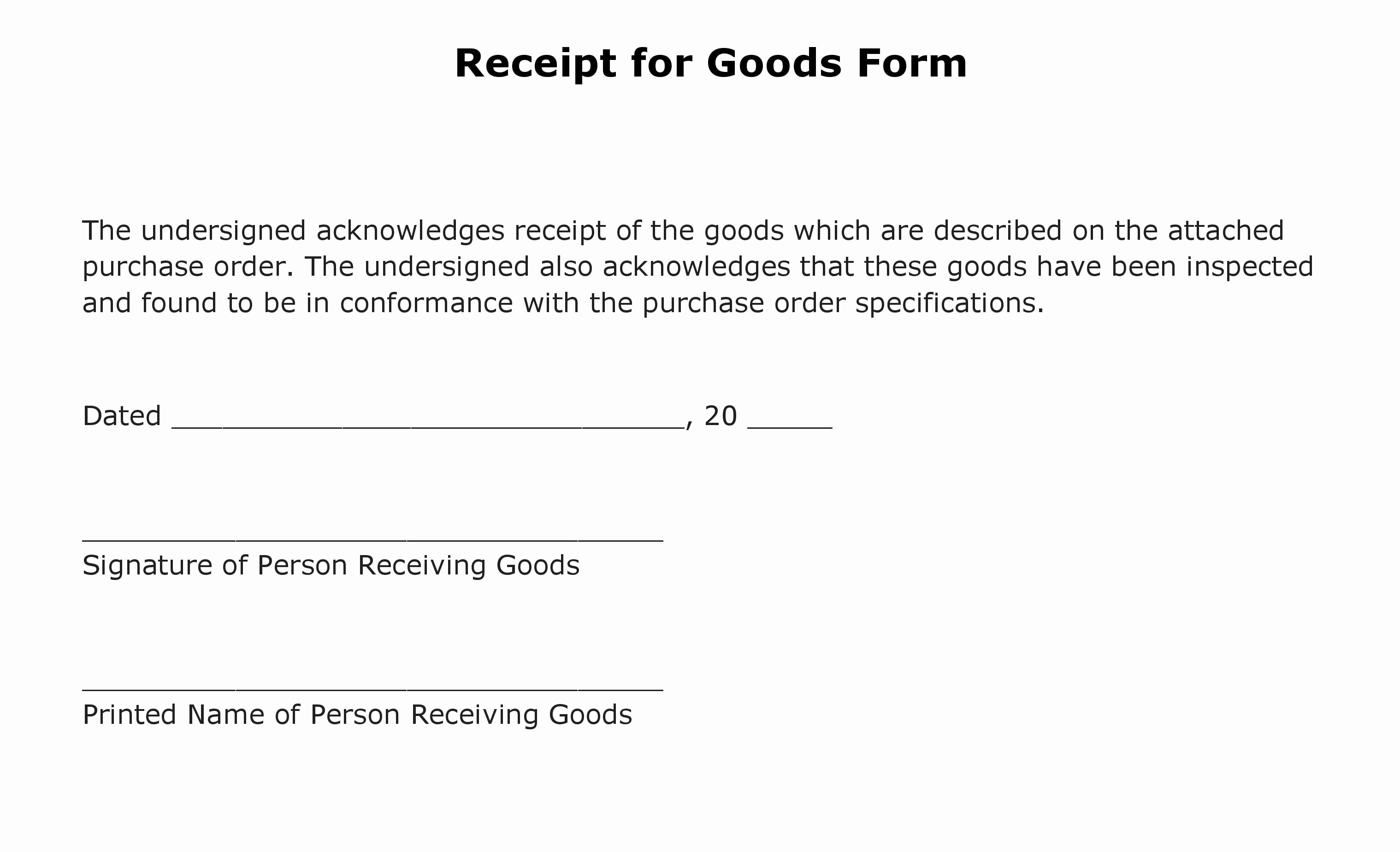 Proof Of Receipt Luxury Free Receipt for Goods form Pdf Template