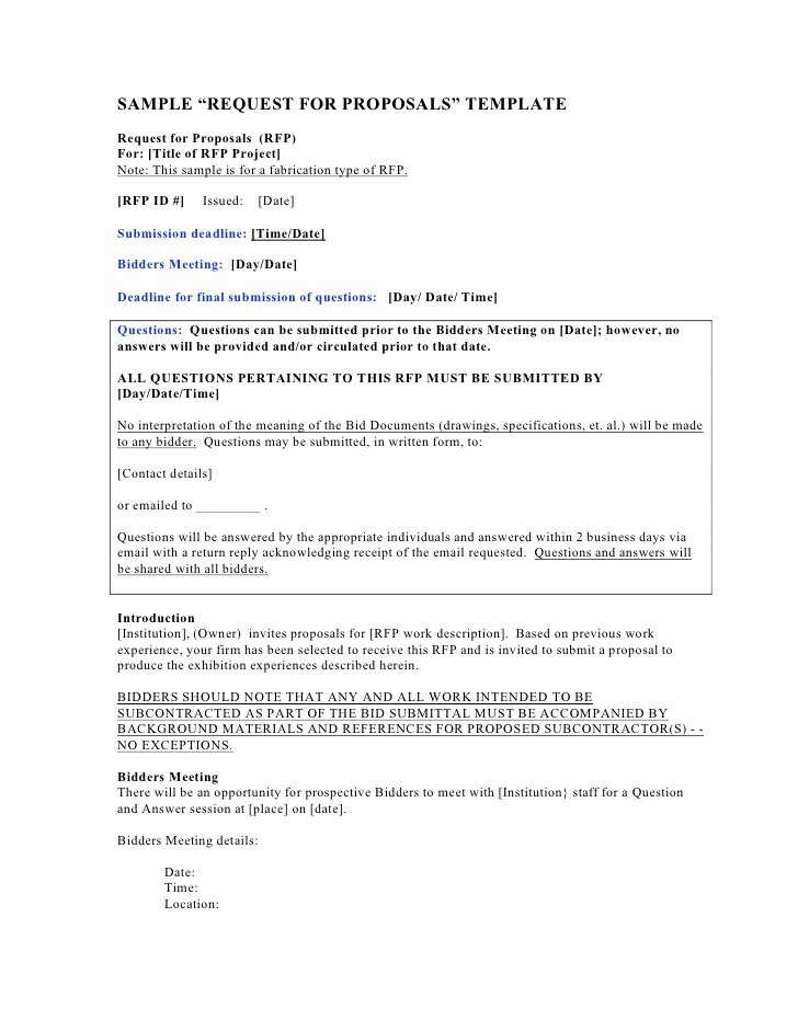 "Proposal Email Sample Best Of Sample ""request for Proposals"" Template"