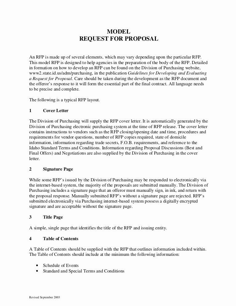 Proposal Email Sample Elegant Sample Request for Proposal format