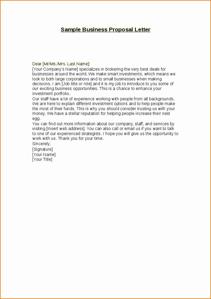Proposal Email Sample Unique 3 Business Proposal Letter