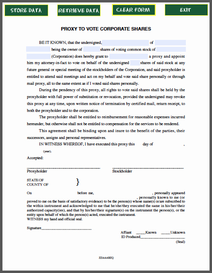 Proxy Letter Template New Proxy to Vote Corporate S Notice Free Fillable Pdf