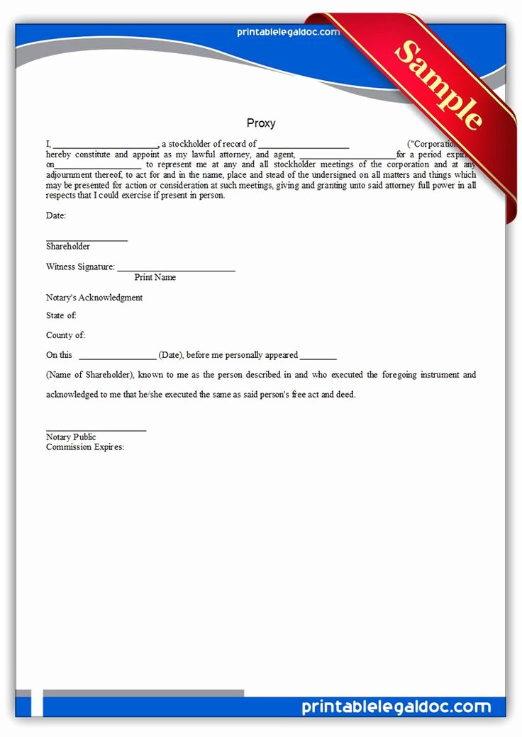 Proxy Letter Template Unique Free Printable Proxy Legal forms