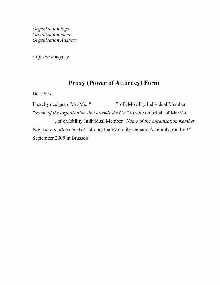 Proxy Letter Template Unique Proxy Power Of attorney form