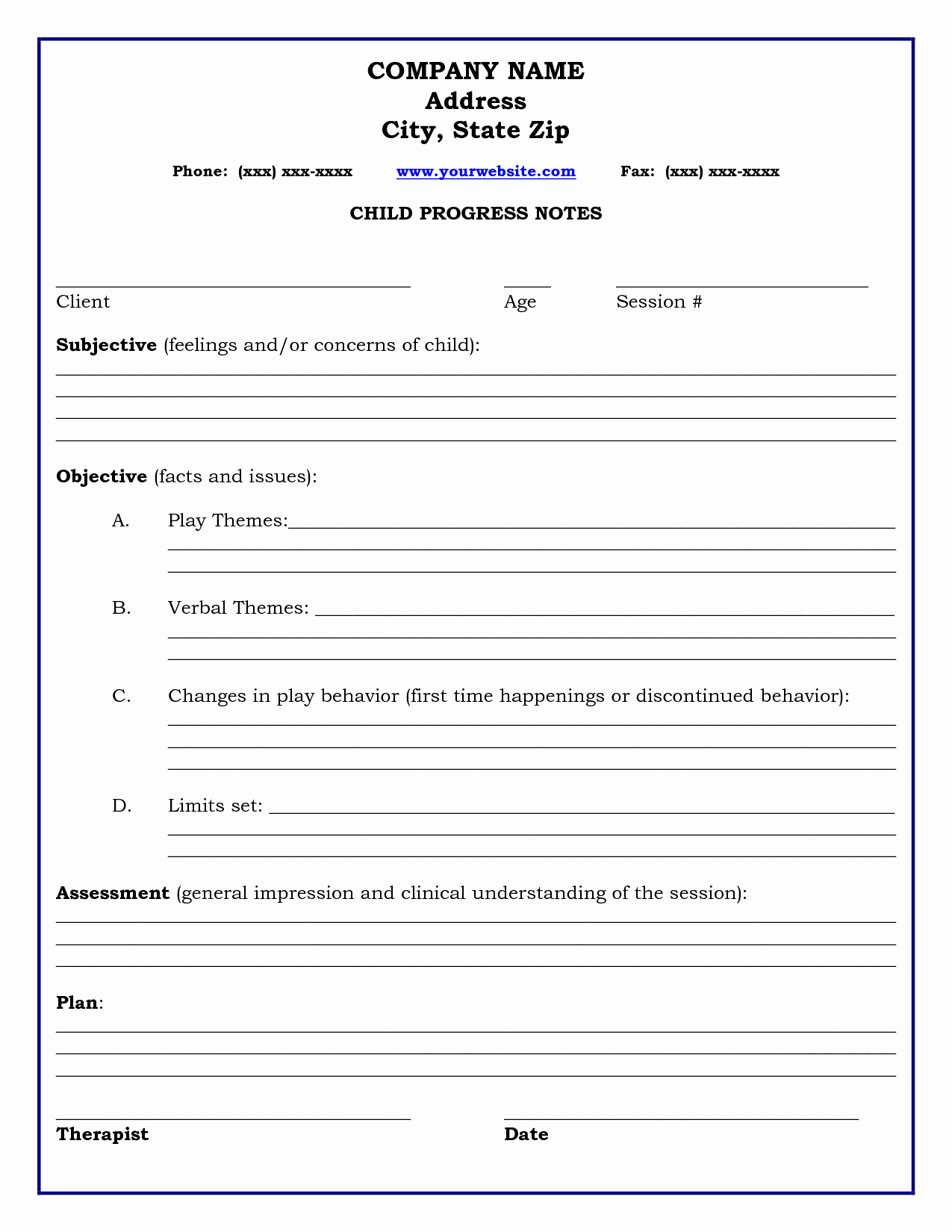Psychotherapy Progress Notes Template Fresh therapy Progress Note Template