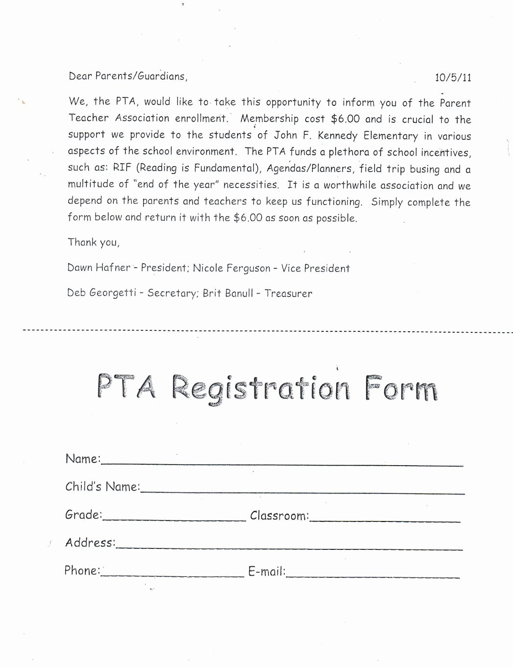Pto Sign Up Sheet Template Beautiful Pta Membership form Google Search Pta