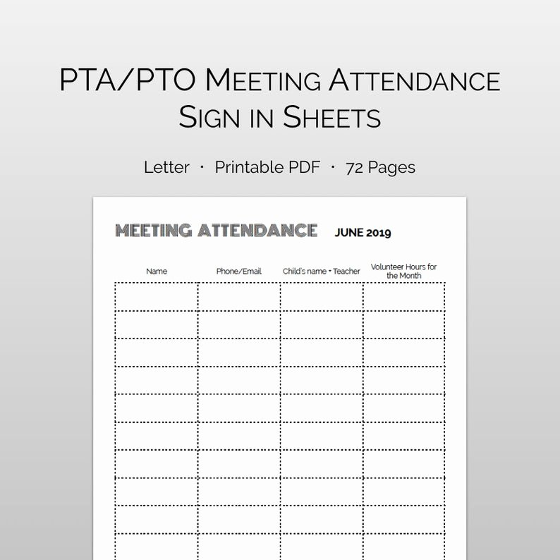 Pto Sign Up Sheet Template Elegant Pto Meeting attendance Sign In Volunteer Hour Tracking