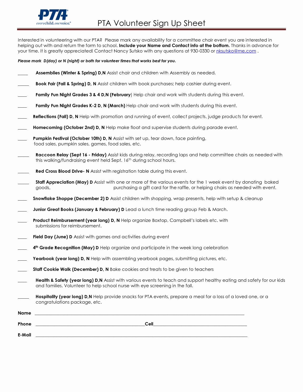 Pto Sign Up Sheet Template Inspirational Pta Volunteer Sign Up Sheets Google Search