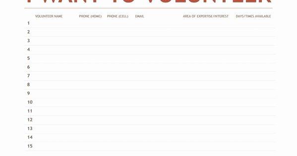 Pto Sign Up Sheet Template Inspirational Volunteer Sign Up Sheet Templates Youth
