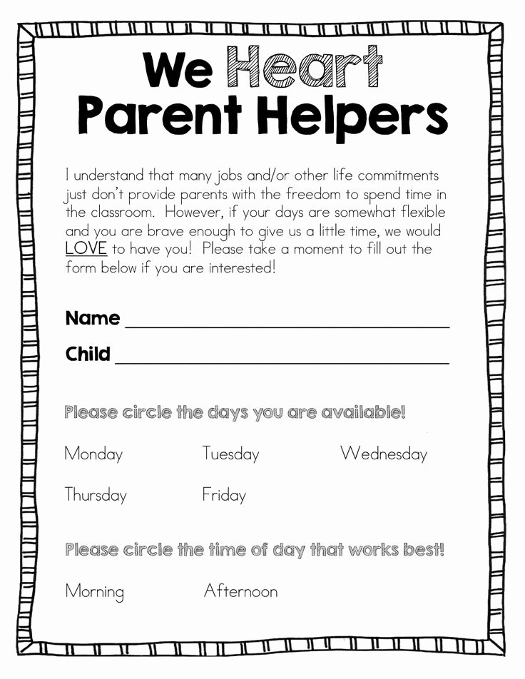 Pto Sign Up Sheet Template Lovely A Great Post About Parent Volunteers In the Classroom and